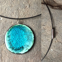 Load image into Gallery viewer, handmade ceramic pendant cable necklace with magnetic clasp black and teal
