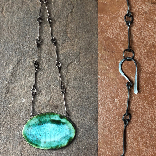 handmade ceramic pendant chain necklace black and teal crackle
