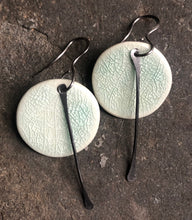 Load image into Gallery viewer, handmade ceramic small circle celadon earrings with black tassel, hypoallergenic titanium ear wires