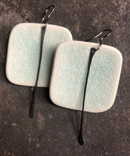 Load image into Gallery viewer, handmade big ceramic celadon square lightweight hypoallergenic statement earrings with black tassel
