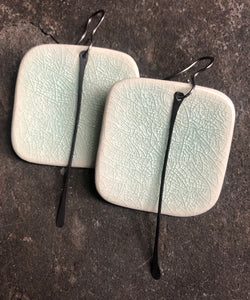 handmade big ceramic celadon square lightweight hypoallergenic statement earrings with black tassel