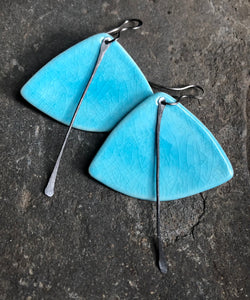 handmade fan shaped aqua blue crackle ceramic lightweight hypoallergenic statement earrings with black tassel