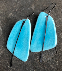 handmade ceramic turquoise blue crackle sail statement lightweight hypoallergenic earrings with black tassel