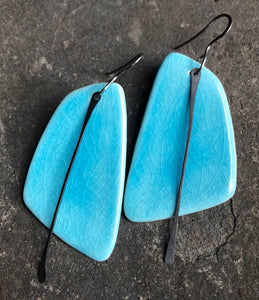 handmade ceramic hypoallergenic lightweight statement sail earrings in turquoise crackle with black tassel