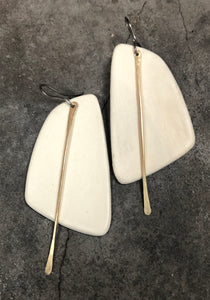 handmade ceramic white sail shaped big lightweight hypoallergenic statement earrings with gold tassels
