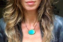Load image into Gallery viewer, handmade ceramic pendant chain necklace Caribbean blue aqua crackle
