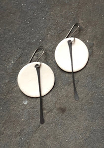 Celadon Circle Earrings with Metal Tassel