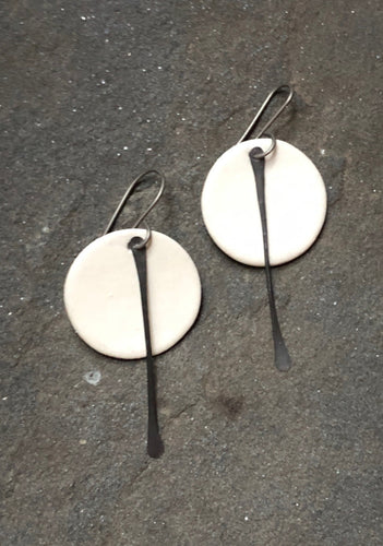 handmade ceramic small circle white earrings with black tassel, hypoallergenic titanium ear wires