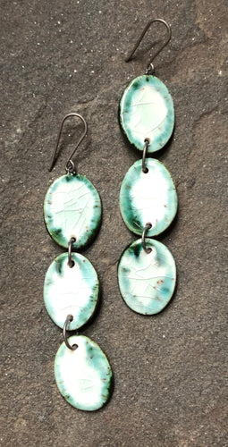 handmade long dangly ovals black teal celadon hypoallergenic lightweight ceramic statement earrings