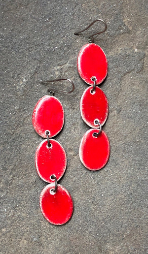 handmade ceramic red dangly oval lightweight hypoallergenic statement earrings