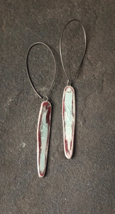 handmade long dangle ceramic spear lightweight hypoallergenic statement earrings red and celadon