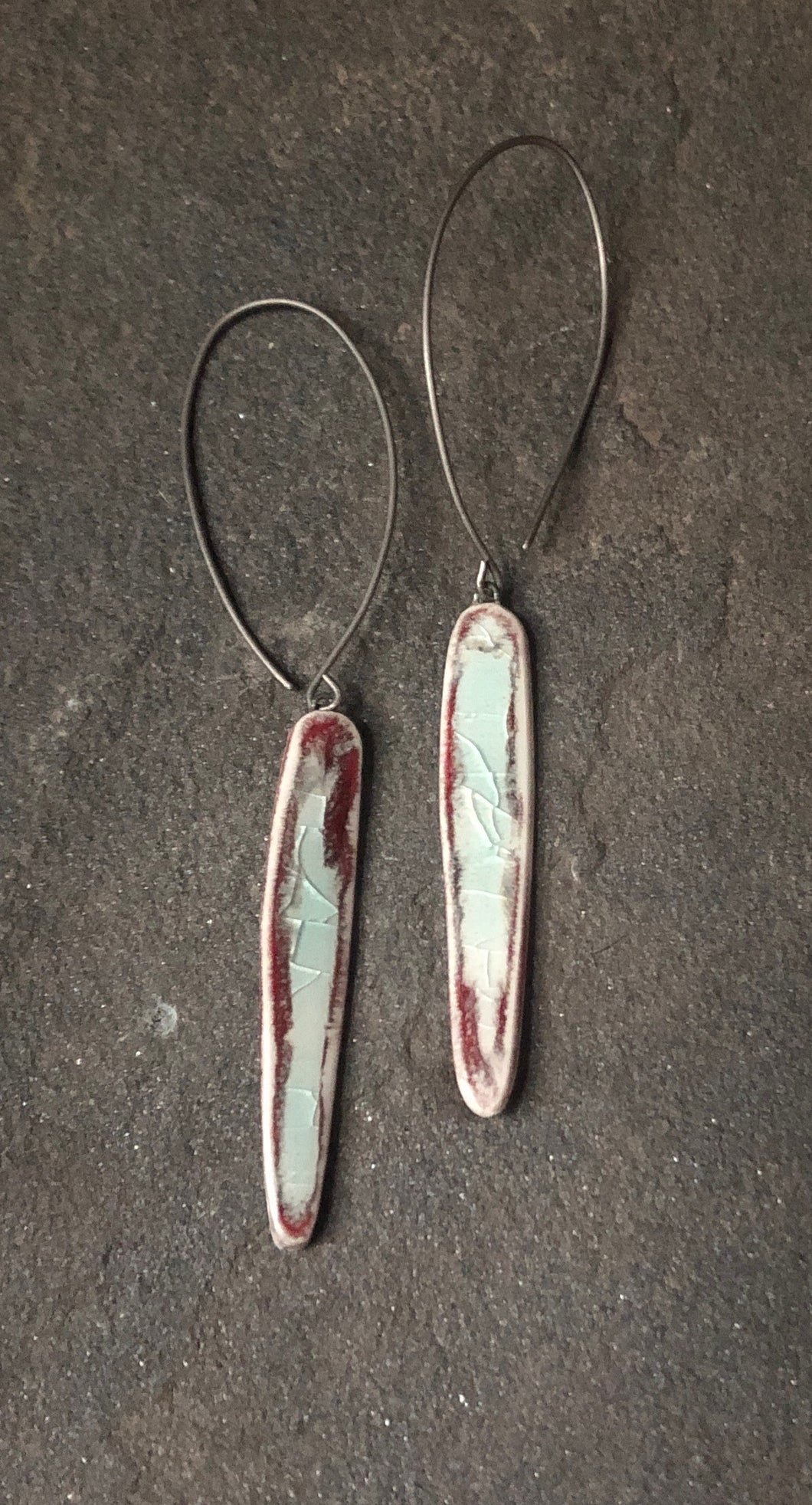 handmade long red celadon dangle ceramic spear lightweight hypoallergenic statement earrings