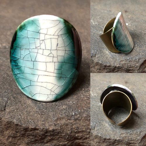 Cocktail Ring Black & Teal Unique Gift for Her