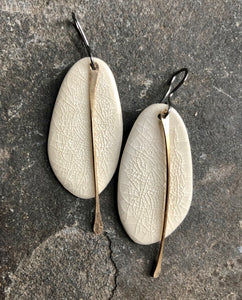 Organic Oval Earrings in Champagne Crackle with Gold Metal Tassel