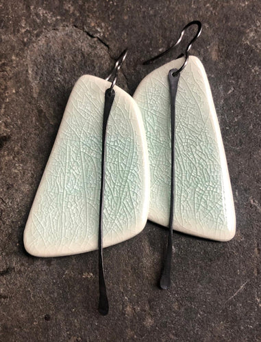 Celadon Sail Earrings with Metal Tassel