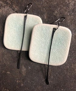 Celadon Rounded Square Earrings w/ Metal Tassel