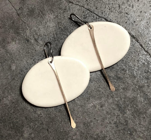 handmade ceramic white & gold oval lightweight statement earrings hypoallergenic titanium ear wires