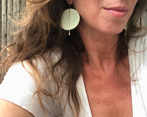 Large Round Blk/Celadon Earrings with Metal Tassel