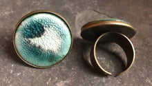 Load image into Gallery viewer, handmade adjustable ceramic teal celadon statement cocktail ring