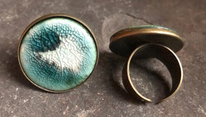 handmade adjustable ceramic teal celadon statement cocktail ring