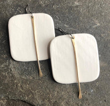 Load image into Gallery viewer, Handmade lightweight ceramic statement white square earrings with gold tassel and hypoallergenic ear wires