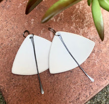 Load image into Gallery viewer, handmade fan shaped white ceramic lightweight hypoallergenic statement earrings with black tassel