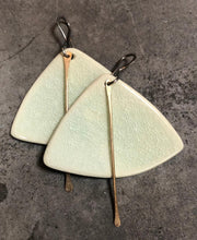 Load image into Gallery viewer, handmade ceramic fan shaped celadon lightweight hypoallergenic statement earrings with gold tassel