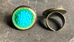 hand crafted adjustable ceramic statement ring colorful aqua turquoise green blue bronze copper lightweight cocktail party fashion accessories