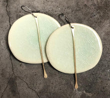 Load image into Gallery viewer, handmade big round celadon lightweight hypoallergenic statement earrings with gold tassel