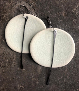 handmade big round ceramic celadon ligbtweight hypoallergenic statement earrings with black tassel
