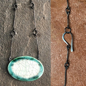 handmade ceramic pendant chain statement necklace teal black celadon