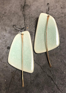 Handmade Hypoallergenic Lightweight Ceramic Statement Earrings Long, Sails in Celadon Crackle with Black Steel Metal Tassel Unique Gift for Women