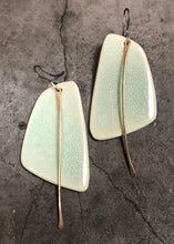 Load image into Gallery viewer, handmade big sail shaped lightweight ceramic hypoallergenic statement earrings in celadon with gold tassel