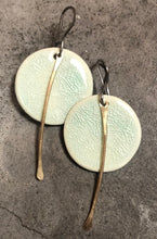 Load image into Gallery viewer, handmade ceramic small celadon lightweight hypoallergenic little dangle earrings with gold tassel