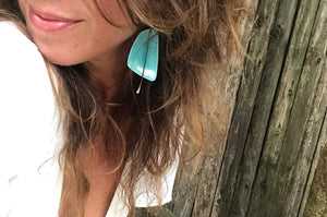 handmade big sail shaped ceramic turquoise blue lightweight hypoallergenic statement earrings with black tassel