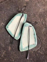 Load image into Gallery viewer, handmade big ceramic black teal celadon sail shaped lightweight hypoallergenic statement earrings with black tassel