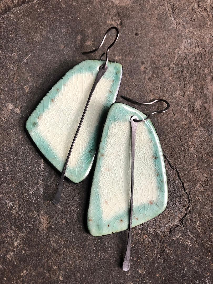 handmade big ceramic black teal celadon sail shaped lightweight hypoallergenic statement earrings with black tassel