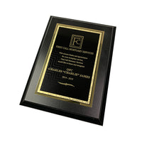 "Black Plaque with Black/Gold Brass Plated Steel Textured Plaque Plate - 6""x8"""