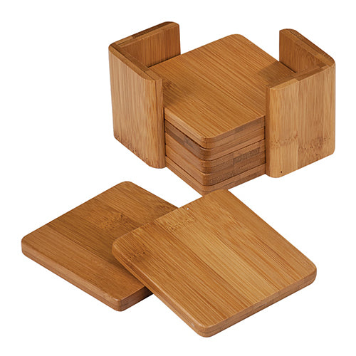 "Bamboo Square 6-Coaster Set with Holder - 3 3/4"" x 3 3/4"""
