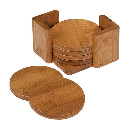 Bamboo Round 6-Coaster Set with Holder - 3 3/4""