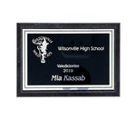 "Black Marble Plaque with Black plate and Silver Lettering - 5""x7"""