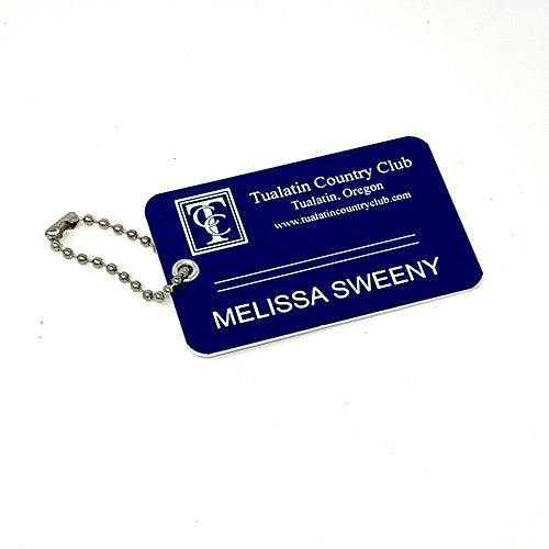 "Bag Tag w/Rivet and chain - 3 1/2"" x 2 1/2"""