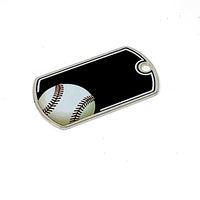 "Baseball Laserable Dog Tag - 2"" Black/Silver"