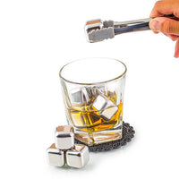 "Stainless Steel Whiskey Stone Set in Bamboo Case - 6 1/4"" x 6 3/4"""