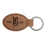 "Brown Laserable Leatherette Oval Keychain - 3"" x 1 3/4"""