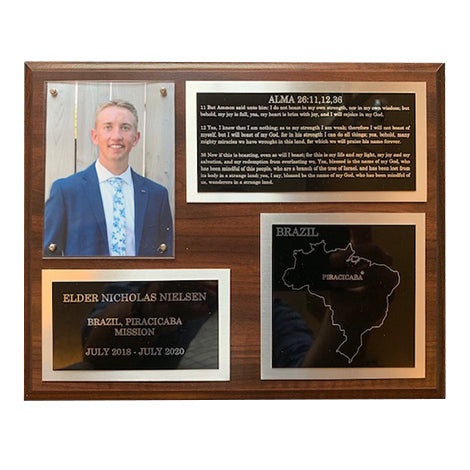 LDS Missionary Plaque - 4 panel w/silver backing