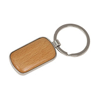 Silver/Wood Laserable Rounded Corner Rectangle Keychain