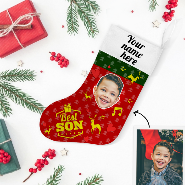 My Name & Face Personalized Best Son Christmas Stockings - For Man, Woman, Kid