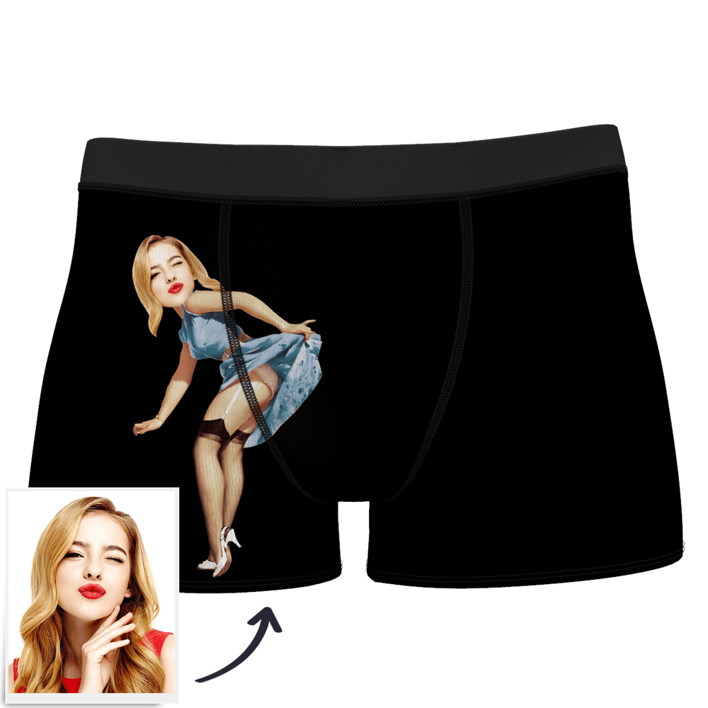 Men's Custom Face On Body Boxer Shorts - Pick up skirt