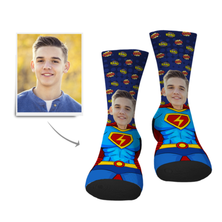 Father's Day Personalized Superman Face Socks - Gesichtsocken